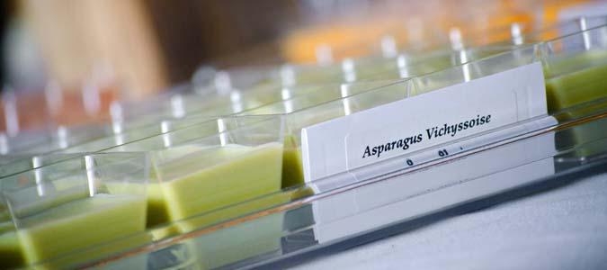 Asparagus Vichyssoise Soup Shots served at a barn wedding