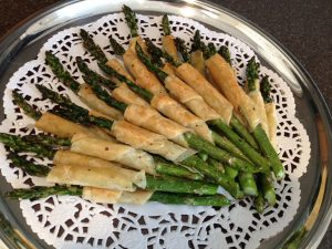 Asparagus and Prosciutto in Phyllo at a Champagne Wedding Reception