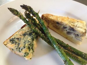 Crustless Quiche Wedges with Grilled Asparagus