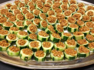 Cucumber Cups with Thai Peanut Filling at an Outdoor Cocktail Wedding
