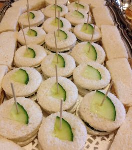 Tea Sandwiches served at a baby shower garden party