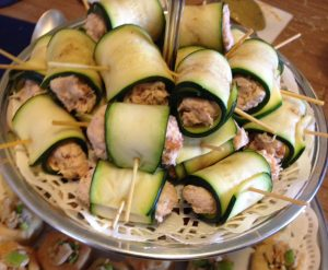 Bridal shower luncheon with salmon zucchini rolls